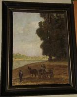 Ismeretlen (20.sz.első fele) : Szekér a folyóparton