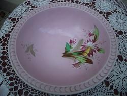 Nagy méretű rózsaszín hibátlan mosdótál jelzett M& C  Francia limoge 19. század