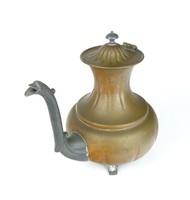 0R985 Antik jelzett nagyméretű vörösréz teáskanna
