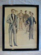 Akvarell festmény emberábrázolás Orlovszky , Falke