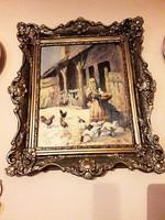 Pálffy .M.Antik Olaj ,vászon falusi jelenetes festmény