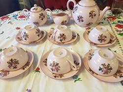 Zsolnay ritka antik rózsaszín mázas  teáskészlet
