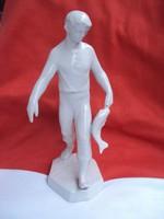 Ritkább Zsolnay Halas fiú porcelán figura