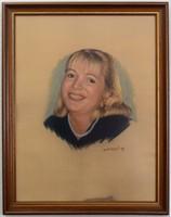 Meseszép női pasztell portré, keretezve üvegezve, szignózott 57x72cm