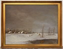 Losonci Lilla (1930-) Tél az Alföldön c. olajfestménye 88x68cm EREDETI GARANCIÁVAL !!