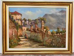 Kovács József (1948 -) Mediterrán táj c.. olajfestménye 83x63cm EREDETI GARANCIÁVAL !!