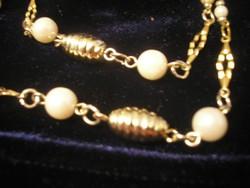 Gold Filled Arany Bev. ,nyaklánc+ Gyöngy Díszítéssel 76 cm -es