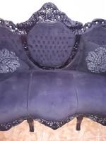 Barokk 3 üléses ébenfa   fekete sofa