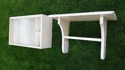 Retro vintage fali vitrines szekrény polc piperés szett fenyő bútor 2db