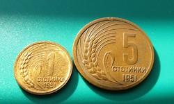 Bolgár Népköztársaság -1951- 1 Stotinka + 5 Stotinki