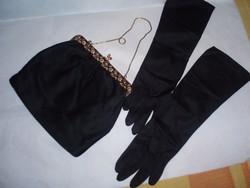 Vintage színházi táska selyem kesztyűvel