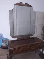 Antik intarziás tükrös fésülködő szekrény