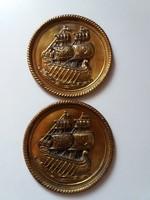 Hajós réz fali tányér 2db