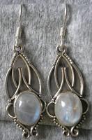 925 ezüst fülbevaló holdkővel, antikolt