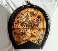 Óriás patkó lópatkoló kovács antik cégér ritkaság