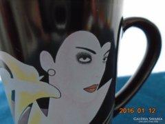 Modern hölgy portré kálával ,stílusos csésze-10x7 cm