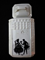 Antik árnyképes cukortartó porcelán doboz