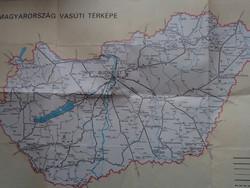 Magyarország Vasúti térképe (Budapest 1973. Kartográfiai Vállalat, vasúttörténet, vonat, MÁV)