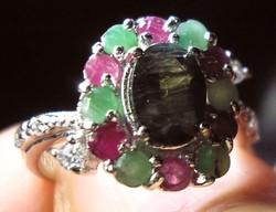 925 ezüst gyűrű 16,1/50,6 mm, zafír, rubin, smaragd, CZ