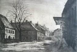 Élesdy István (1912-1987) - Budai Vár - Országház utca metszet