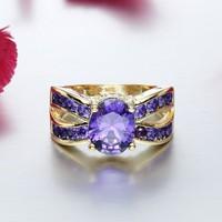 Lila köves Gold Filled gyűrű 7-es  ÚJ!