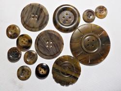 Antik teknőspáncélból készült gombok 13 db.