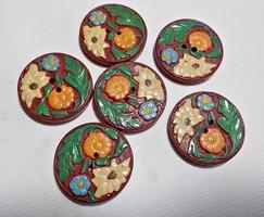 Festett virágos fa gombok 6 db.