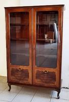 Intarziás neobarokk vitrines könyvszekrény