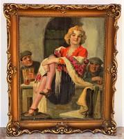 Geiger Richárd ( 1870-1945) Mulatóban c.. életképe olajfestmény Eredeti Garanciával !!!