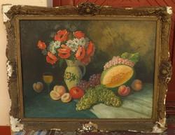 Antik festmény ,virág csendélet