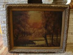 Antik jelzett olaj-vászon festmény 78x96 cm