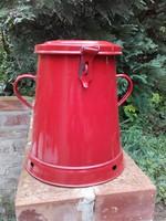 Retro, régi Lampart  5 literes piros zománcozott zsírosbödön