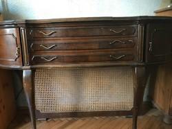 Gyönyörű antik íróasztal, felhajtható tükörrel, eredeti fiókokkal!