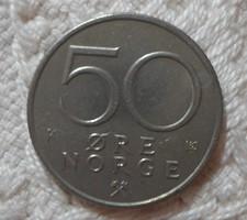 Norvég pénz - érme, 50 øre (öre, 1993)