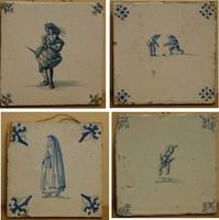 4db, 1600-s évekbeli fali kerámia csempe,Delft
