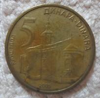 Szerb pénz - érme, 5 dinár (2005)
