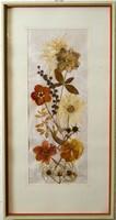 Gyönyörű, dekoratív,  száraz virág kép,  fehér keretben