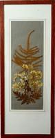 Szárazvirág kép, barna keretben, 15x38 cm