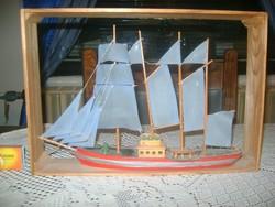 Vitorlás hajó makett, falikép