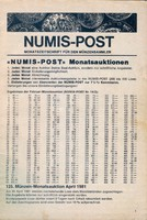 Numis-Post 125. münzen-monatsauktion april 1981       /46/