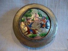 Régi keleti gyöngyházra festett képpel szelence