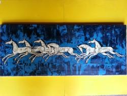 """""""Vágtázó lovak"""" művész olajnyomat '64"""