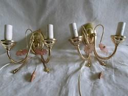 Dupla ágú réz falikar lámpa párban, 2 db együtt