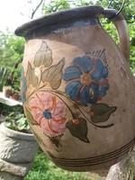 Népi cserép szilke-korsó-köcsög kézi festéssel antik szép db
