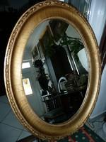 Gyönyörű nagy méretű, nagyon régi antik ovális fali tükör az 1800-as évekből