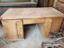 ART--DECO tölgyfa furnéros íróasztal