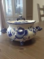 Régi orosz GZHEL kézzel festett porcelán nagy cukor tartó