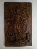 Sárkányölő Szent György  -  kerámia falikép, másolat