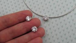 Ezüst szett - csúszó medál, fülbevaló és ezüst nyaklánc - új ékszer