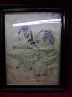 1949-es Keretezett Grafika-Karikatúra Feleki Kamill-Honthy Hanna